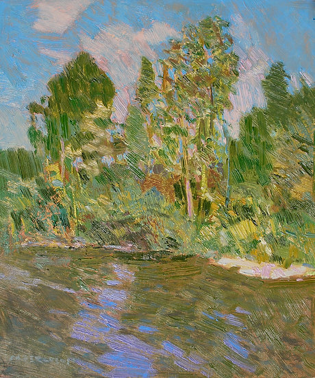 Michael Ferguson Oil Painting Cedar River From the Bike