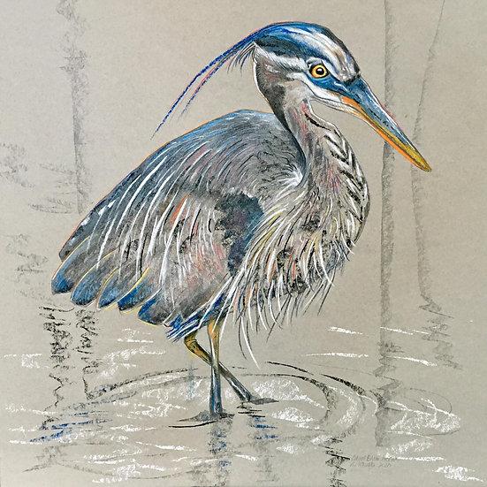 pastel stephanie wirada great blue heron