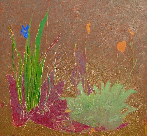 Michael Ferguson Acrylic Painting Iris & Poppy