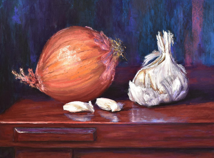 pastel megan veldee onion and garlic on wood