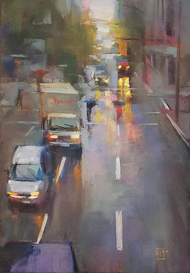 Pastel Andrew Mcdermott Lights Through the rain