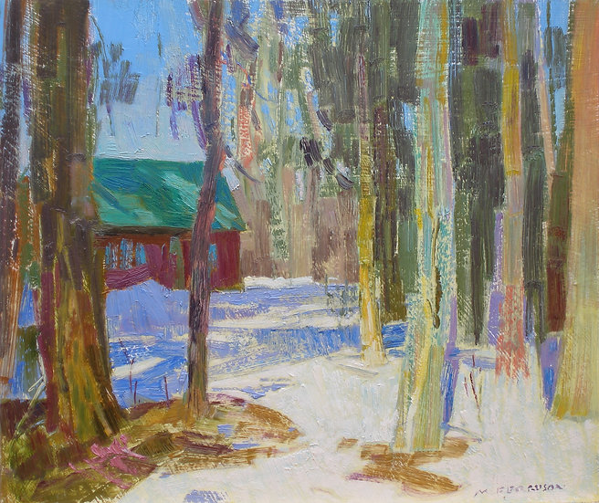 Michael Ferguson Oil Painting Cabin and Cottonwoods