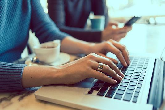 Woman working on Linkedin profile