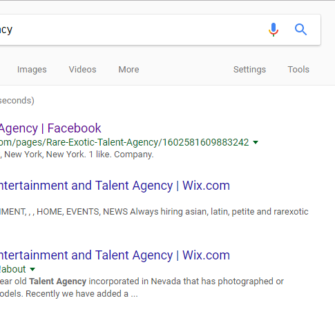 Google RareExotic Talent Agency