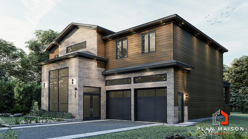 plan de maison avec garage sur le cote
