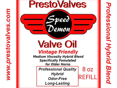 8 oz REFILL SPEED DEMON HYBRID VALVE OIL FOR VINTAGE HORNS