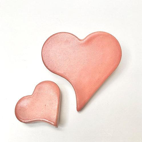 Kit Imã com 2 corações Coral