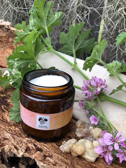 Frankincense and Geranium Body Cream for dehydrated skin