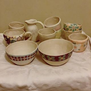 Glazed ceramic ware ready to be kiln fired