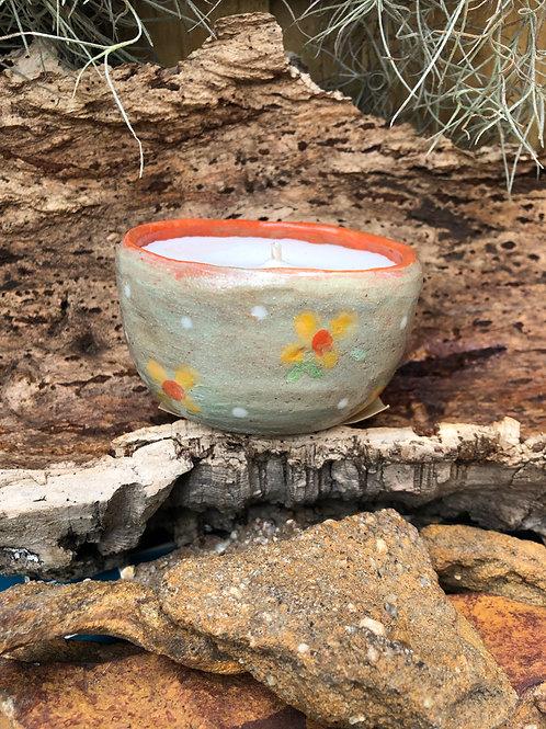 Ceramic Candle Pot scented in Rose Geranium and Bergamot