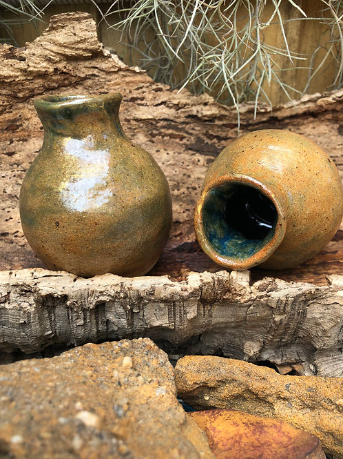 Mediteranean Oil Pots in high glaze green and brown