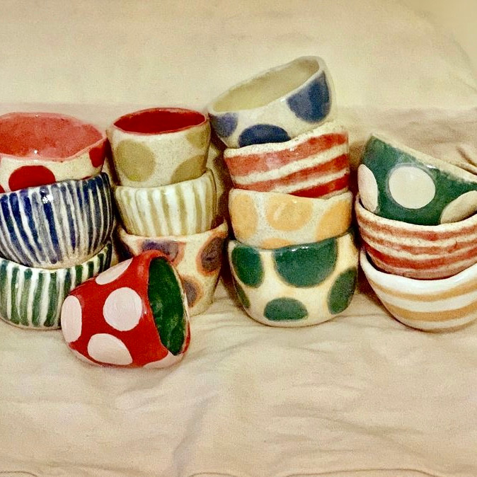 Ceramic candle pots glazed, fired and ready to be filled with Coconut soy wax and scent