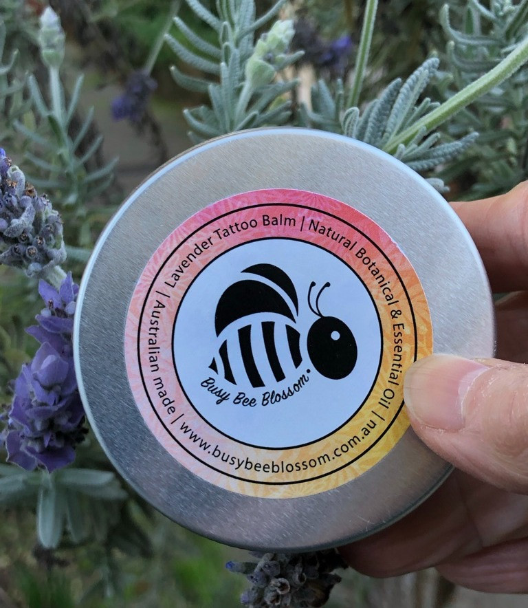 Lavender Tattoo Balm by Busy Bee Blossom for all natural soothing, calming skincare. 100% Australian made and owned.