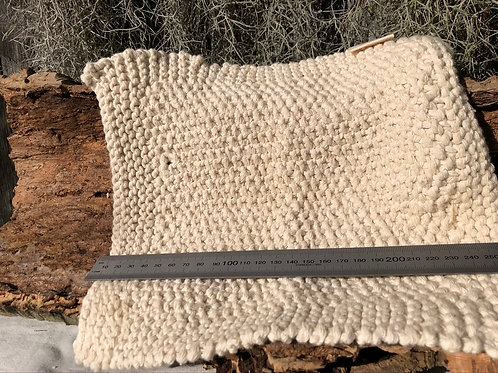 Handknitted Cotton Facecloth with ruler