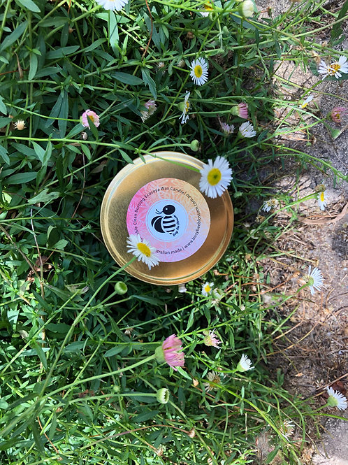 Rose Gold Travel Tin Coconut Soy Wax Candle in Vanilla Cocoa