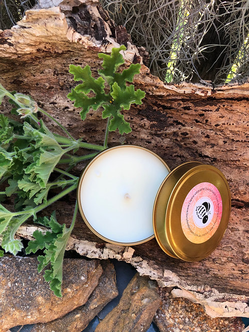 Gold Travel Candle Tin scented in Rose Geranium and Bergamot
