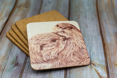 'Embracing Otters' Cork Backed Coaster