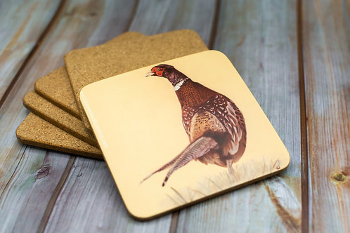 'Wandering Pheasant' Cork Backed Coaster