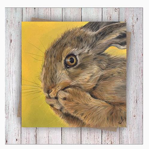 'Hettie Hare' Square Greetings Card