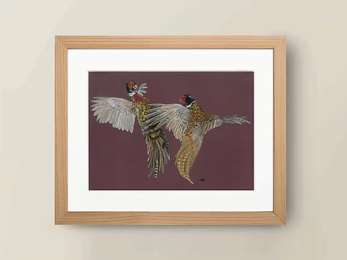 A4 'Fighting Pheasants' Giclée Print