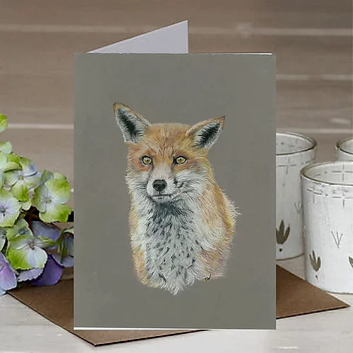 'Waiting Fox' A6 Greetings Card
