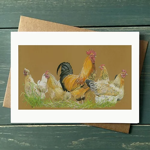 'Rooster and his hens' A6 Greetings Card