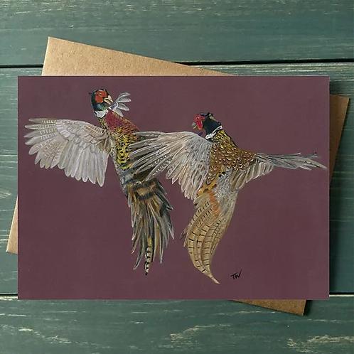 'Fighting Pheasants' A6 Greetings Card