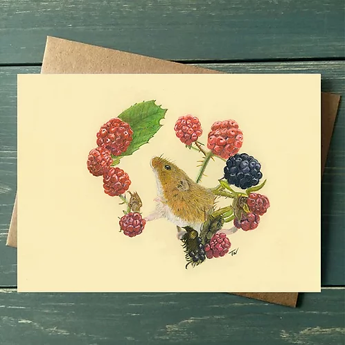 'Mouse with Berries' A6 Greetings Card