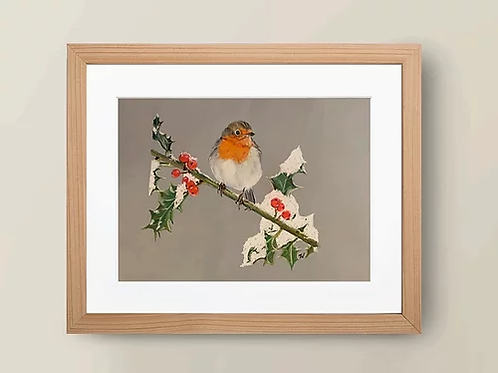 A4 'Robins appear when loved ones are near' Giclée Print