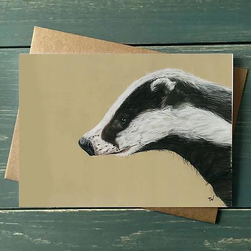 'Badger' A6 Greetings Card