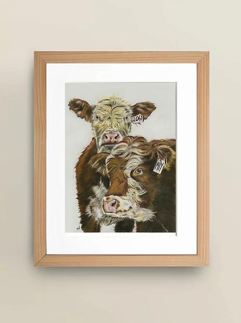 A4 'Inquisitive Cattle' Giclée Print