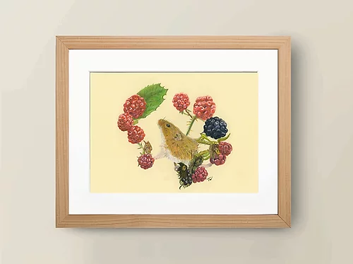 A4 'Mouse with berries' Giclée Print