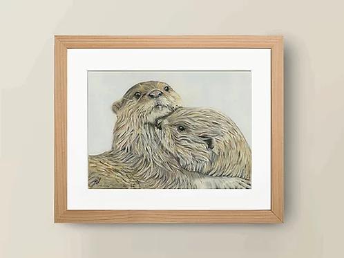 A4 'Embracing Otters' Giclée Print