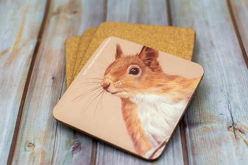 'The Red Squirrel' Cork Backed Coaster