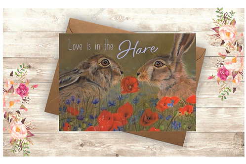 'Love is in the Hare' Greetings Card