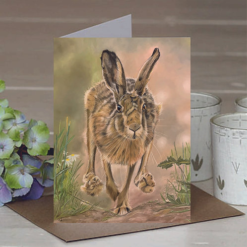 'Running Hare' A6 Greetings Card