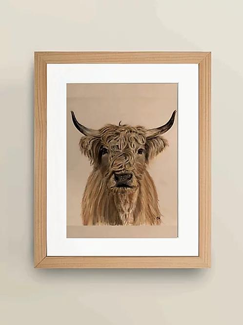 A4 'Highland Cow' Giclee Print