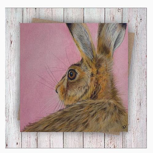 'Hilda Hare' Square Greetings Card
