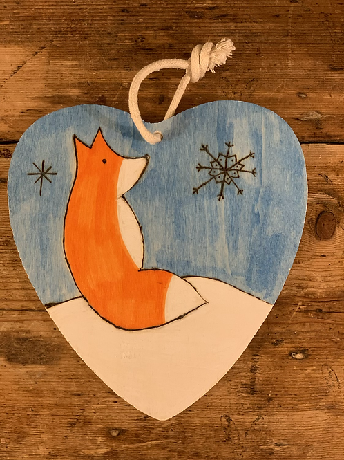 Hanging wooden heart winter fox