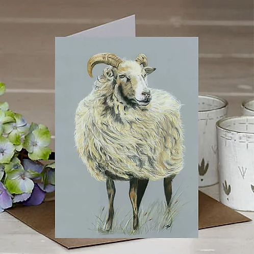 'Sheep in the wind' A6 Greetings Card