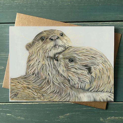 'Embracing Otters' A6 Greetings Card