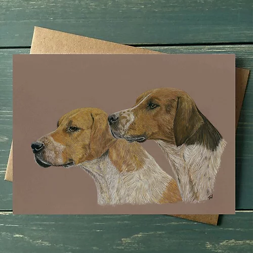 'Fox Hounds' A6 Greetings Card