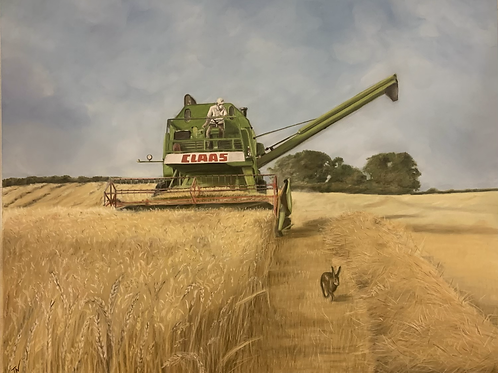 'Harvest at Higher Burton' A3 Limited Edition Giclee Print