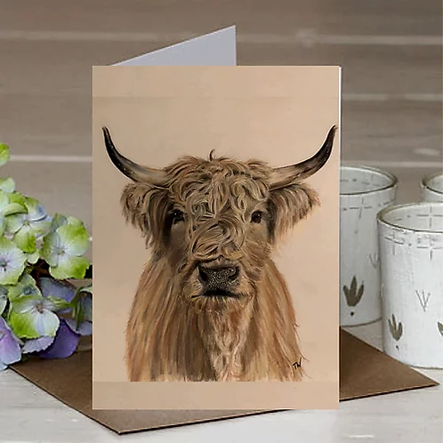 'Highland Cow' A6 Greetings Card