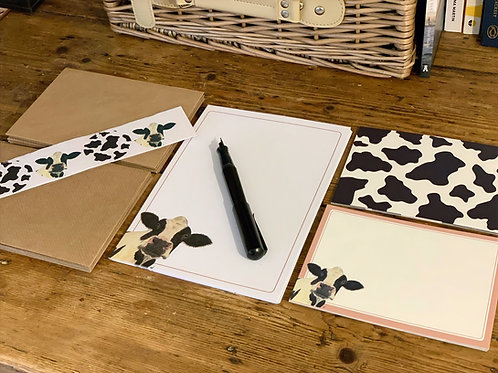 Moo Notepaper and Notecard Stationery Set
