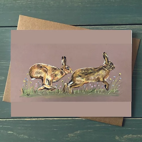 'The Chase' A6 Greetings Card