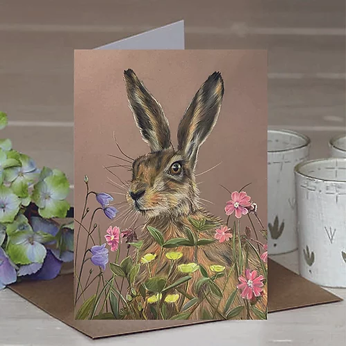 'Meadow Hare' A6 Greetings Card