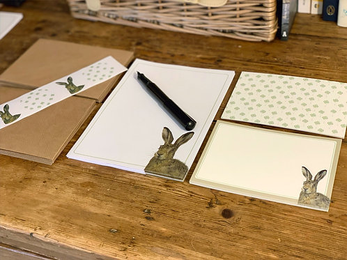 Mad March Hare Notepaper and Notecard Stationery Set