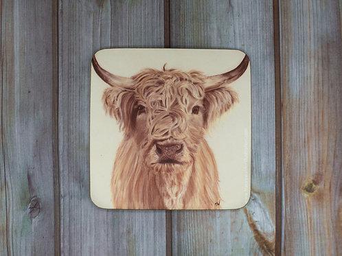 'Highland Cow' Cork Backed Coaster