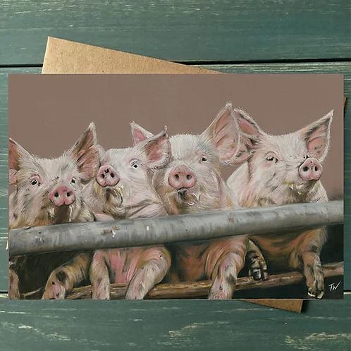 'Pink Piggies' A6 Greetings Card
